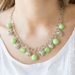 Mint Green & Silver Bead Necklace